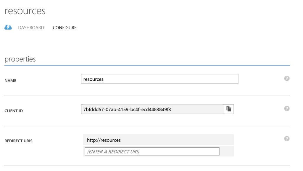 Azure Active Directory - Configure - Client ID - URL