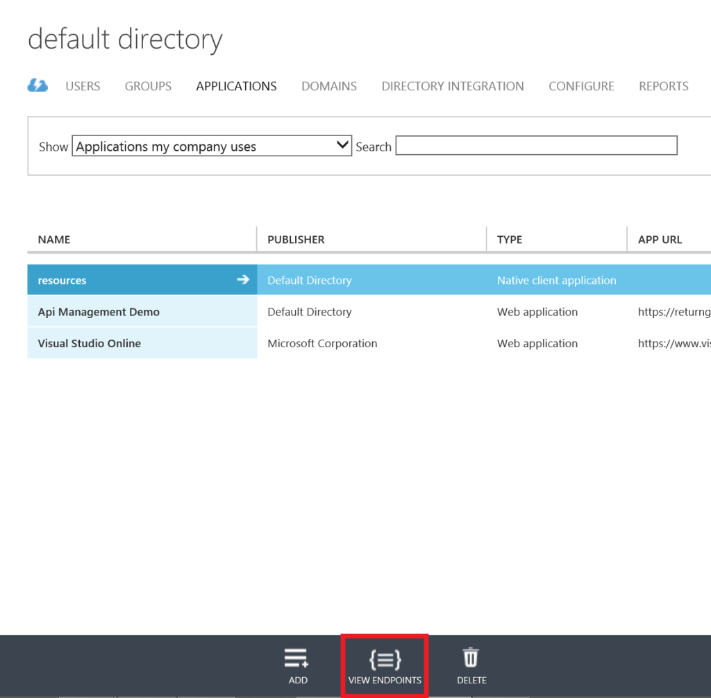 Azure Active Directory - app - view endpoints