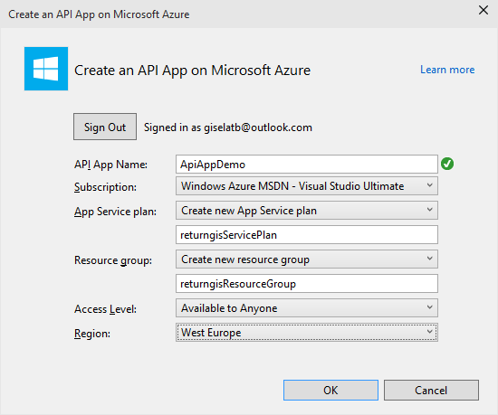 Create an API App on Microsoft Azure