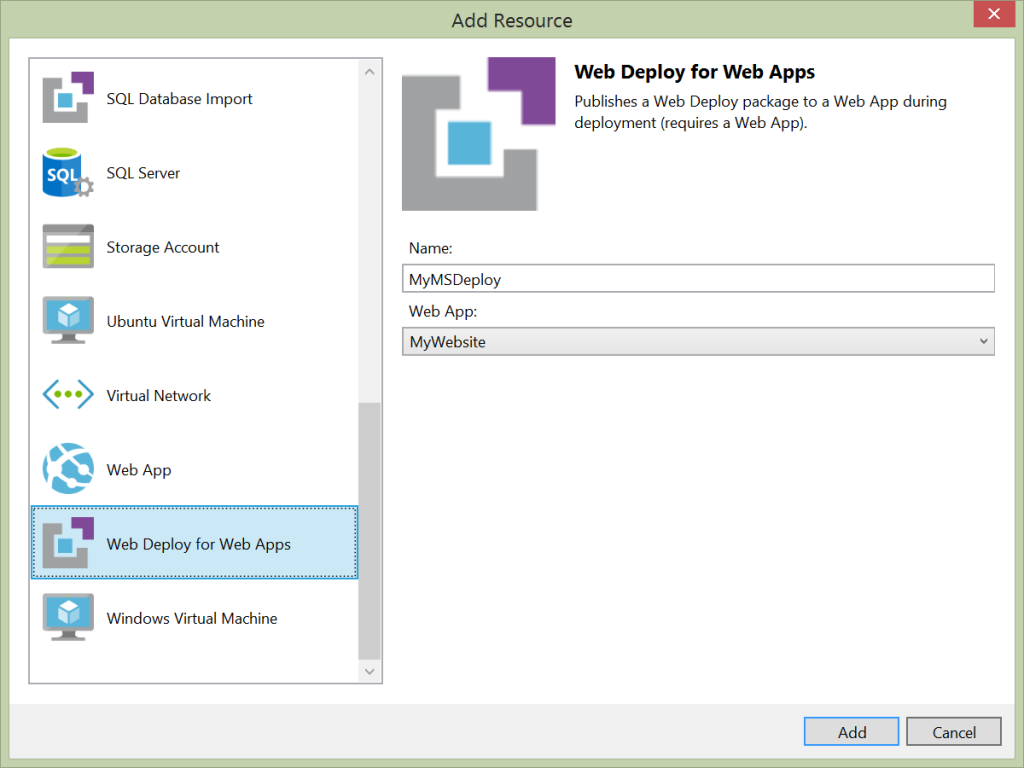 Add Resource - Web Deploy for Web Apps