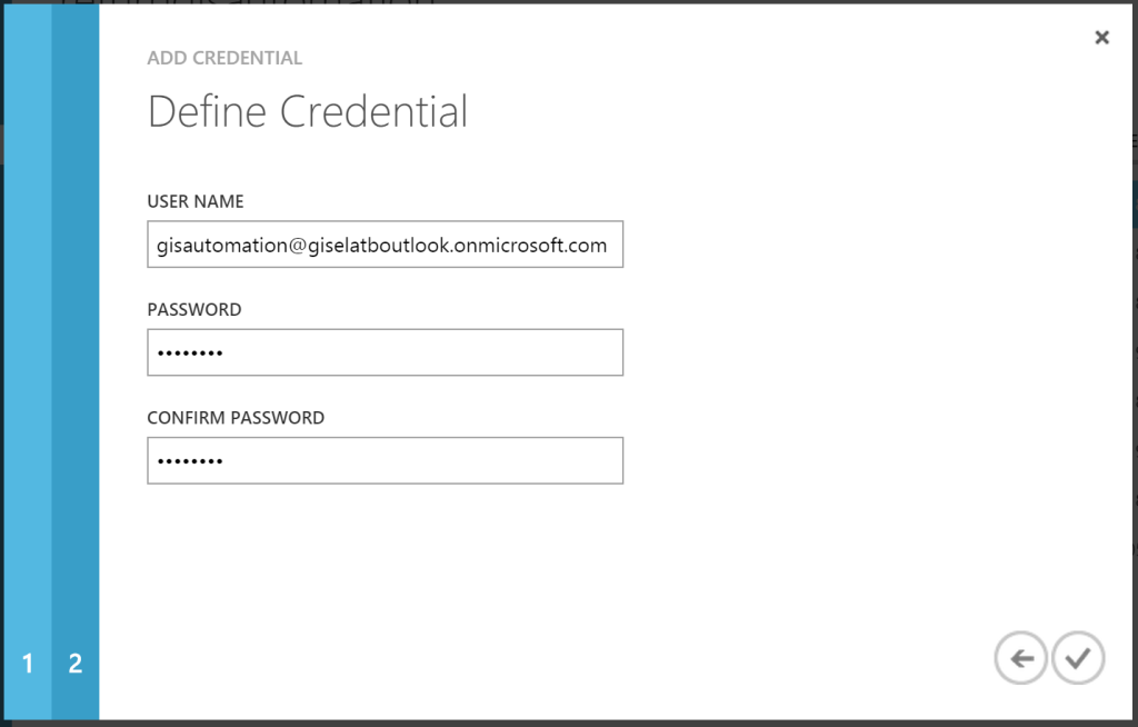Azure Automation - Add Credential - Define Credential