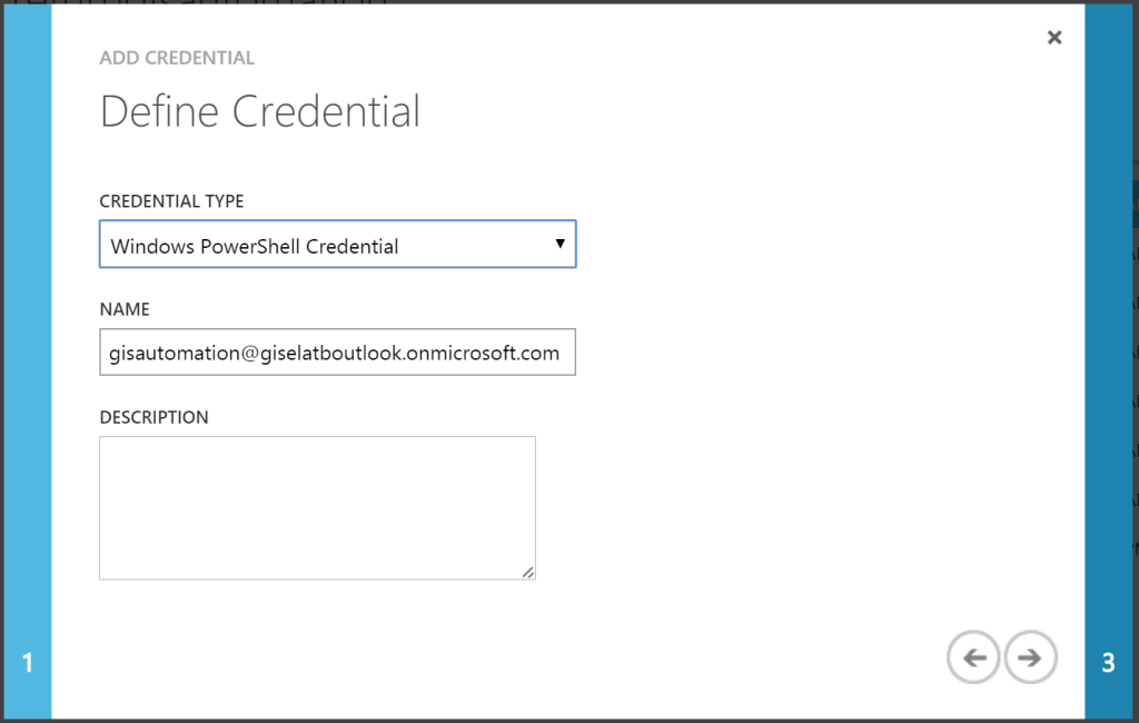 Azure Automation - Add Settings - Add Credential