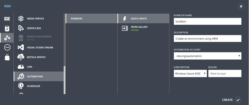Azure Automation - Create runbook . buildenv