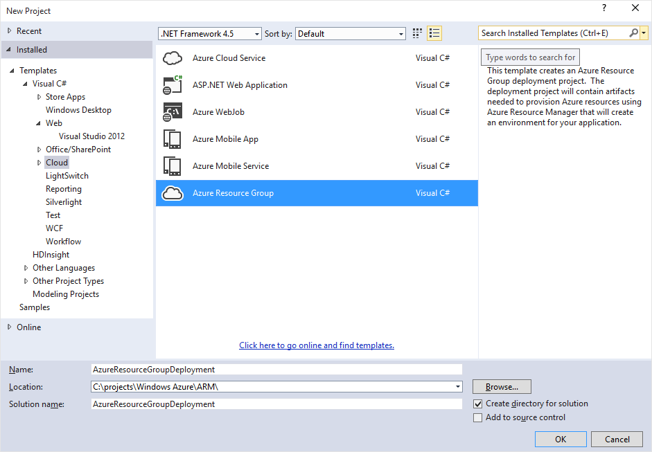 Azure Resource Group deployment project