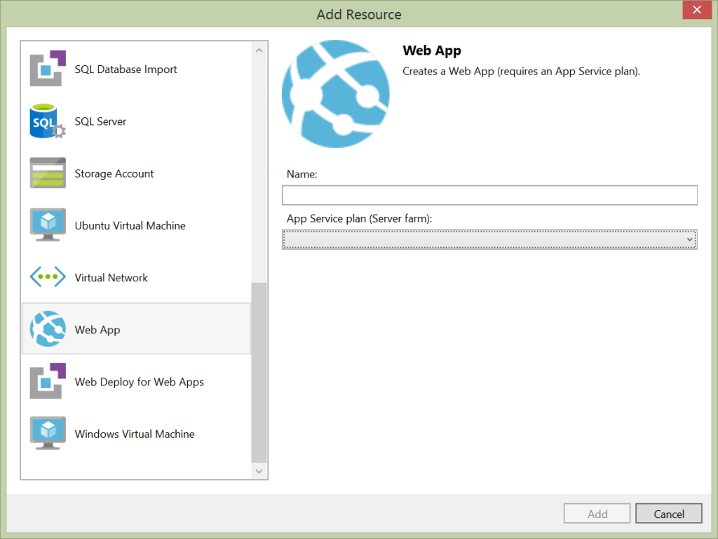 Azure Resource Manager - Add resource wizard