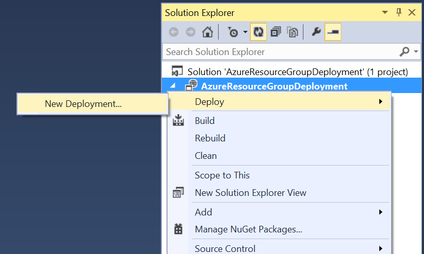 Azure Resource Manager - Deploy - New Deployment