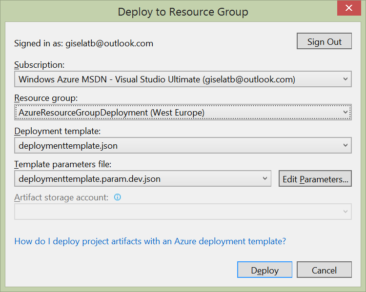 Azure Resource Manager - Deploy to Resource Group
