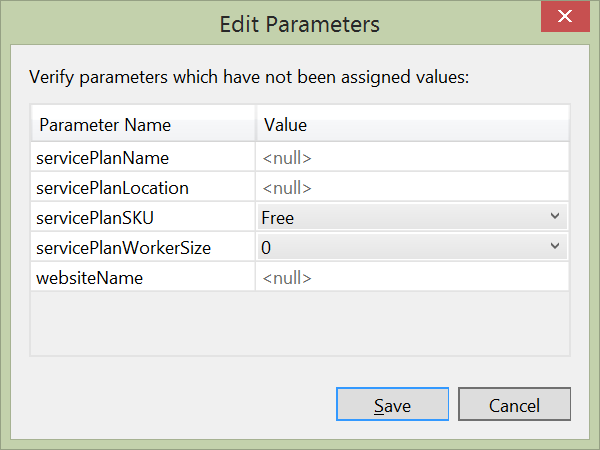 Azure Resource Manager - Edit Parameters
