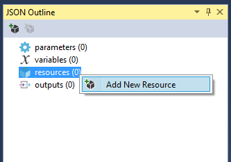 Azure Resource Manager - JSON Outline - Add New Resource