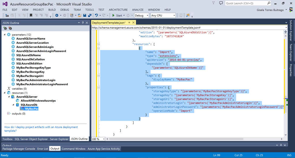 Azure Resource Manager - MyBacPac