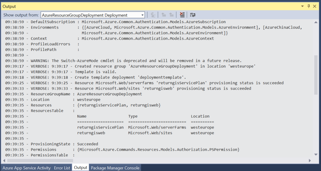 Azure Resource Manager - Output during deployment