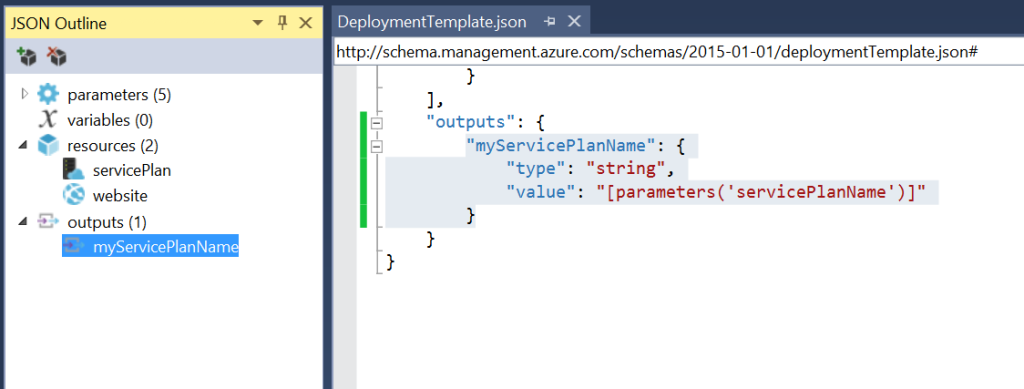 Azure Resource Manager - Outputs