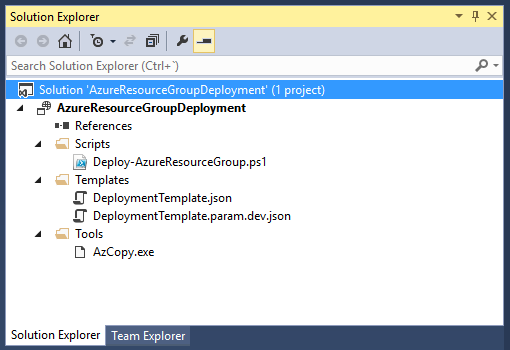 AzureResourceGroupDeployment - Solution explorer
