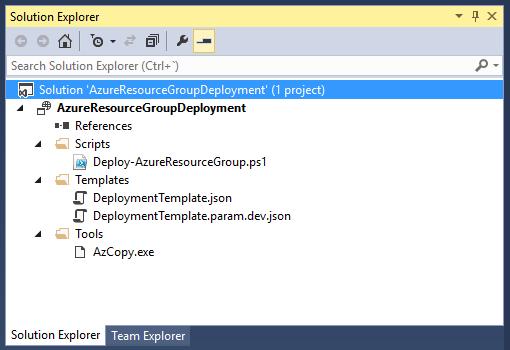 AzureResourceGroupDeployment - Solution explorer