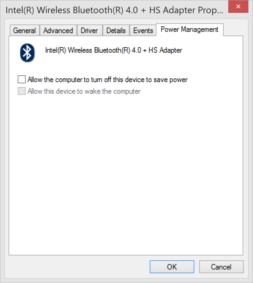 Bluetooth adapter - Uncheck Allow the computer to turn off this device to save power