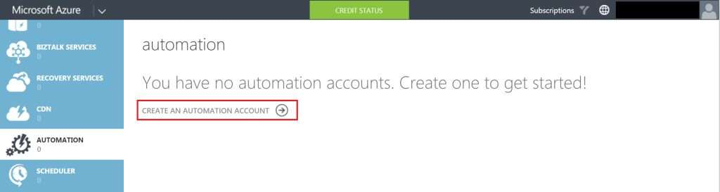 Create an automation account