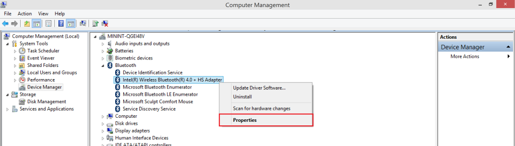 Device Manager - Bluetooth adapter - Properties