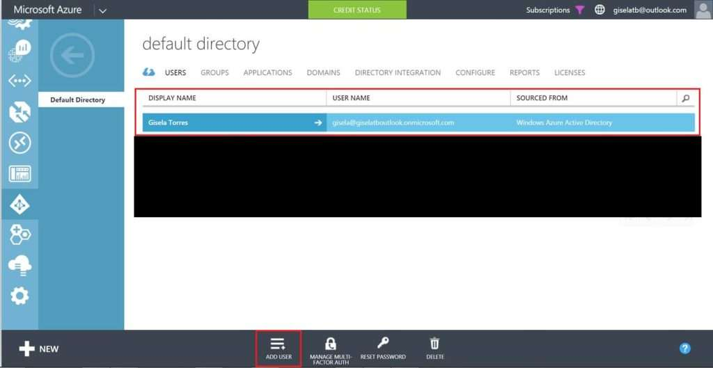 New user - Azure Active Directory