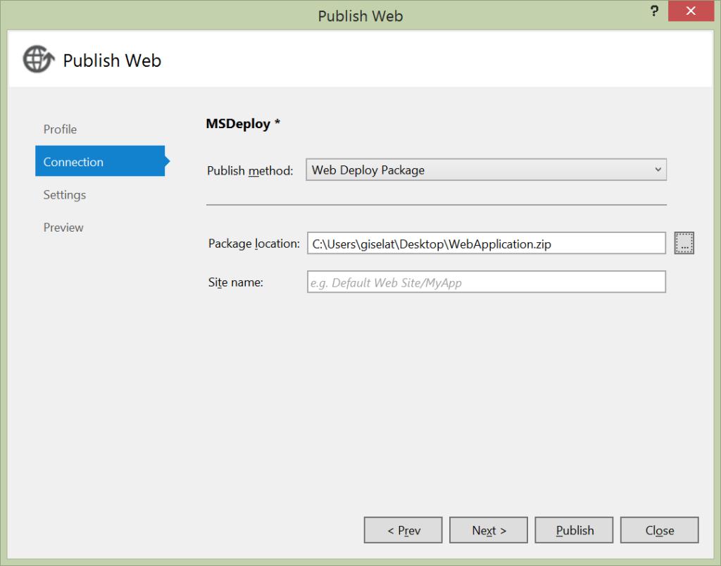 Publish Web - Web Deploy Package