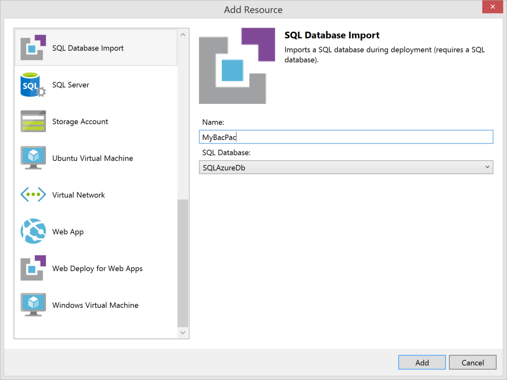 SQL Database Import - Azure Resource Manager