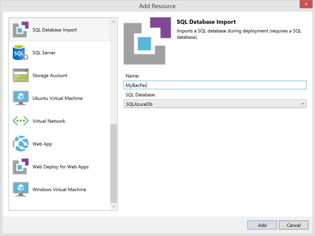 SQL Database Import - Azure Resource Manager