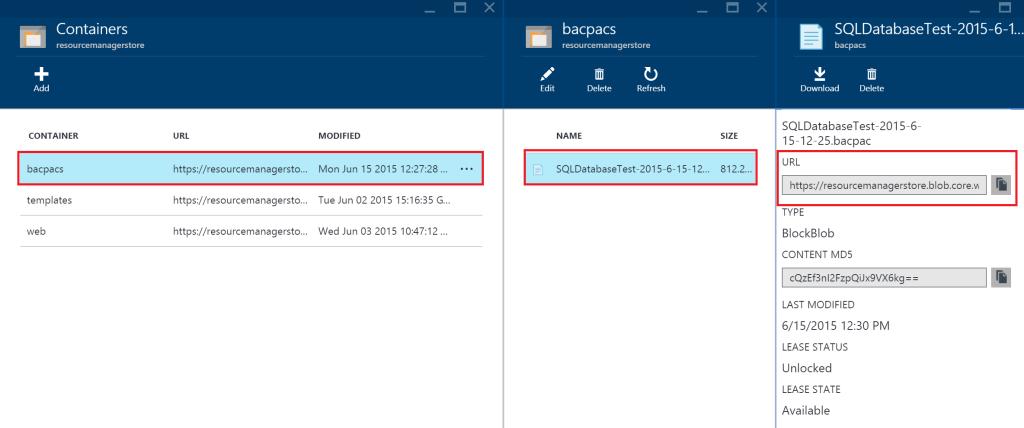 SQL Database - URL bacpac