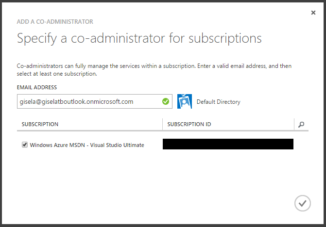 Specify a co-administrator for subscriptions