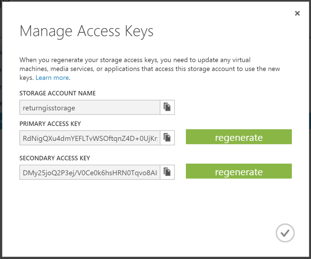 Azure Storage - Manage Access Keys