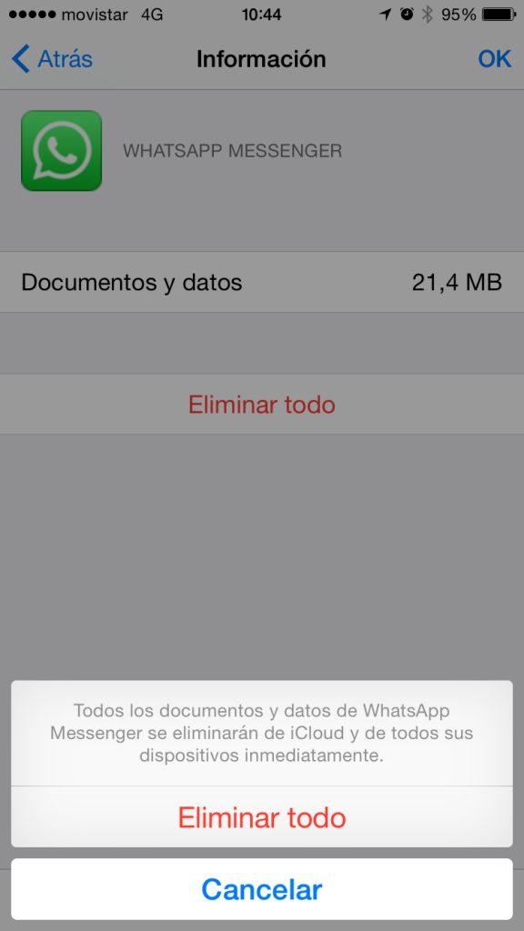 iCloud - Confirmación de la eliminación de los datos