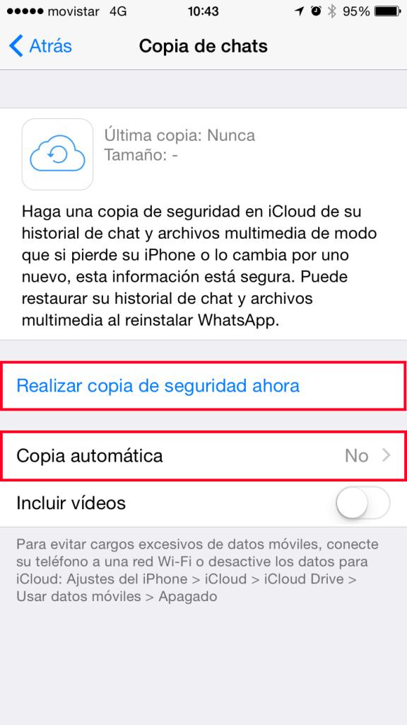 WhatsApp - Realizar copia de seguridad ahora