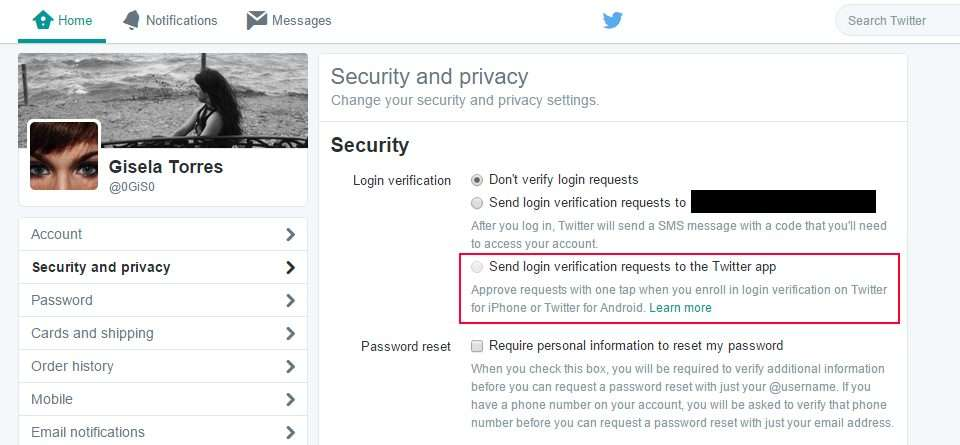 Twitter - Send login verification requests to the Twitter app
