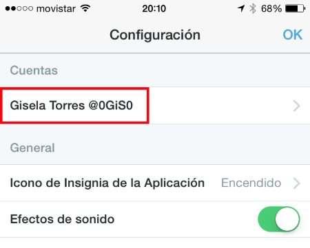 Twitter iOS app - Configuración - Seleccionar cuenta