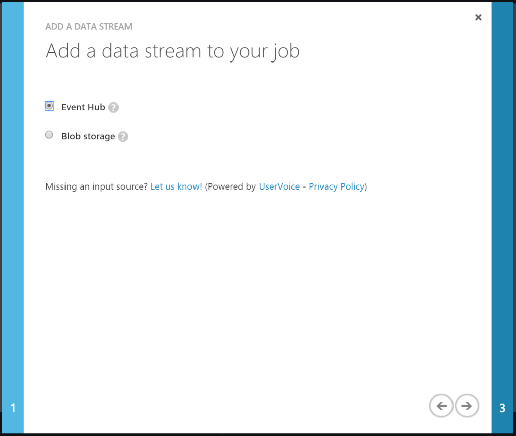 Add a data stream to your job - Event Hub