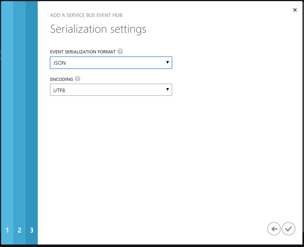 Analytics - Inputs - Event Hub - Serialization Settings