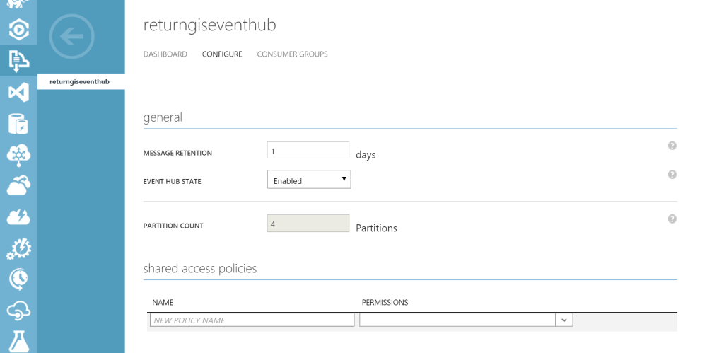 Event hub - Configure section