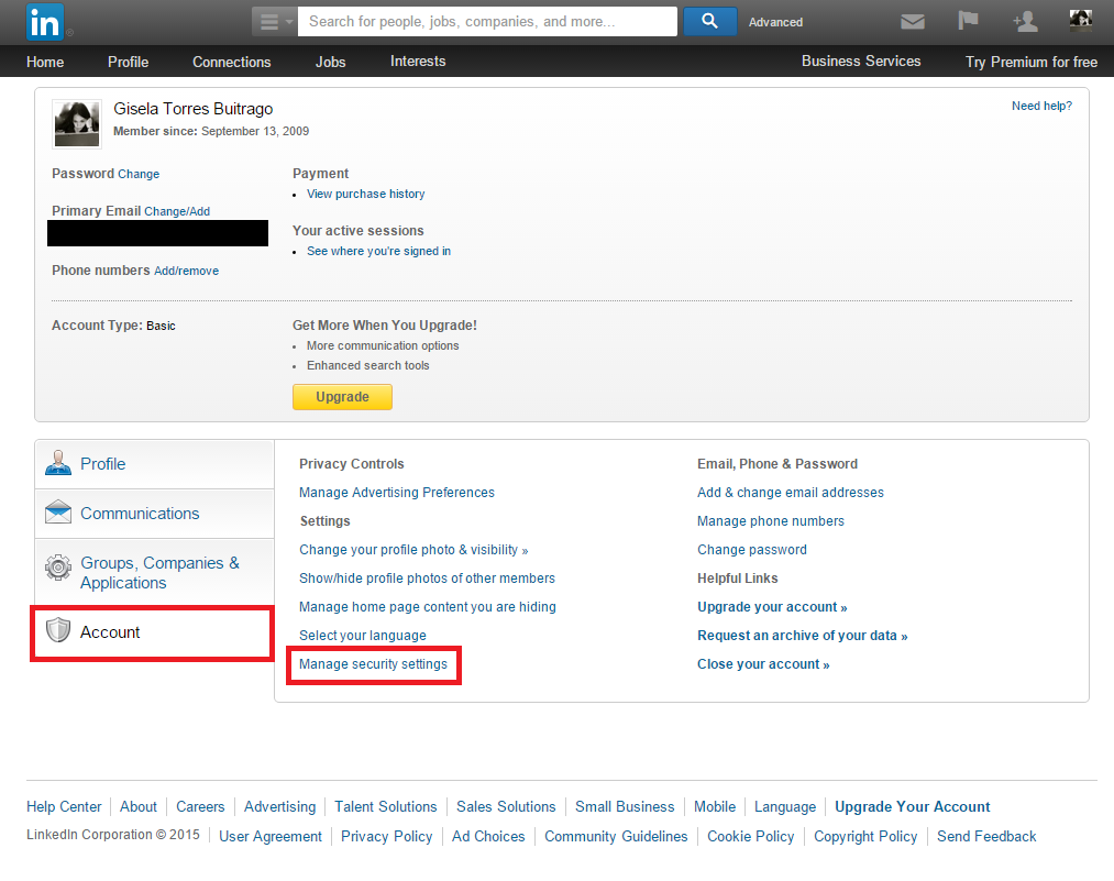 Linkedin - Account - Manage security settings