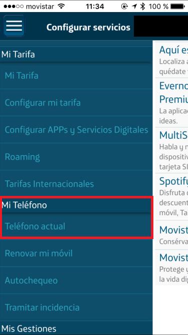 Mi Movistar - Configurar servicios