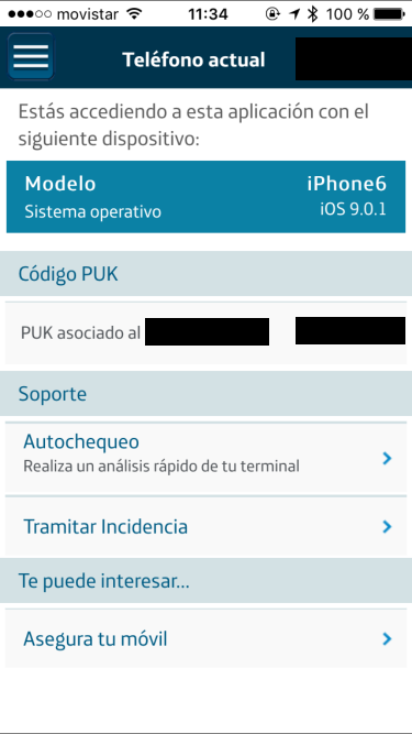 Mi Movistar - Telefono actual