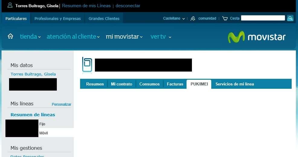 Página de clientes de Movistar