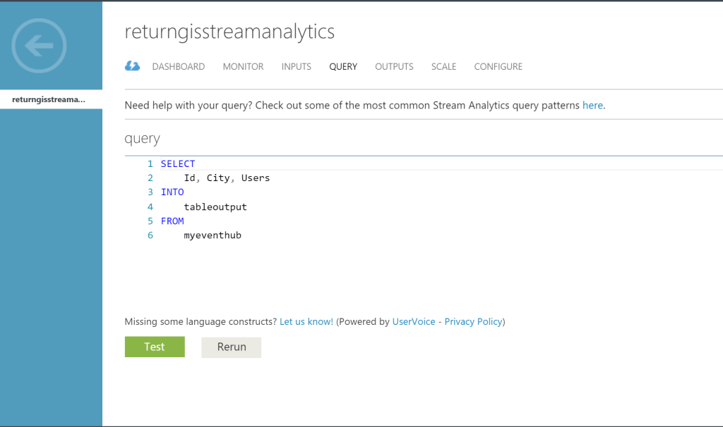 Azure Stream Analytics - Query