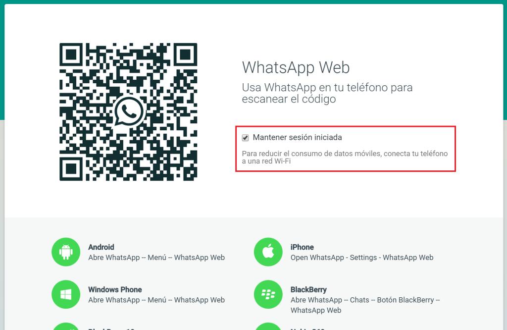 WhatsApp Web - Desactiva Mantener sesion iniciada