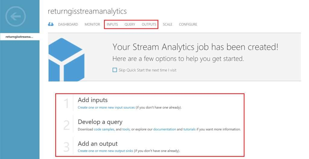 Azure Stream Analytics: inputs, query y outputs