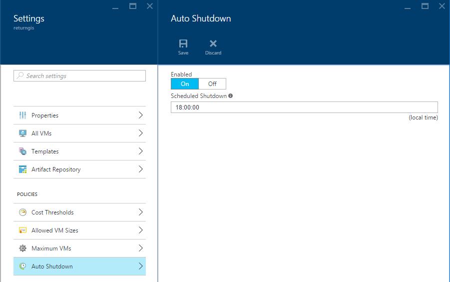 Azure DevTest Labs - Auto Shutdown