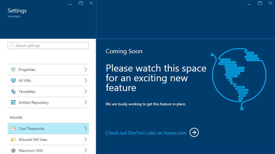 Azure DevTest Labs - Cost Thresholds - Coming soon