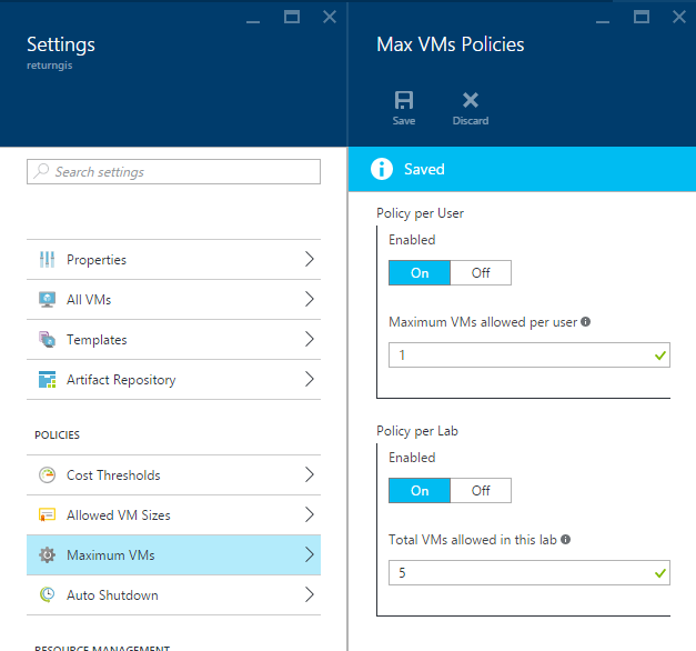 Azure DevTest Labs - Max VMs Policies