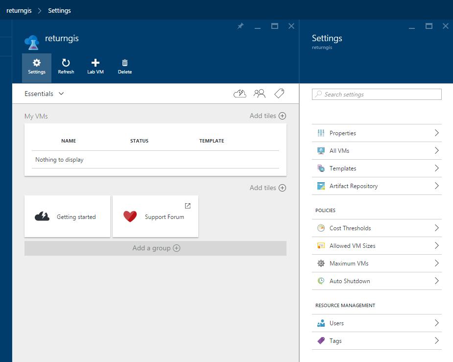 Azure DevTest Labs - Settings