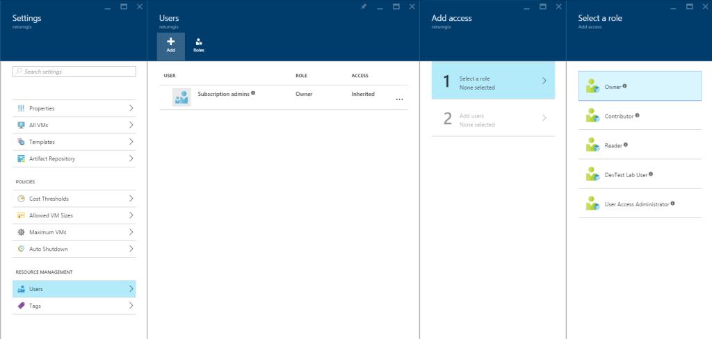 Azure DevTest Labs - Users