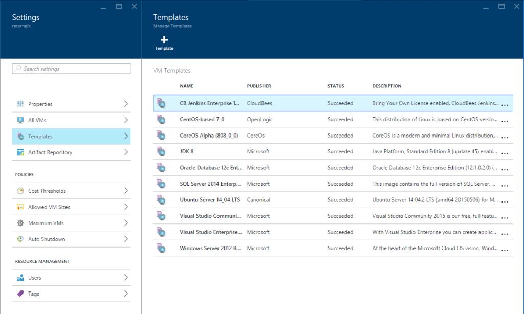 Azure DevTest Labs - Templates