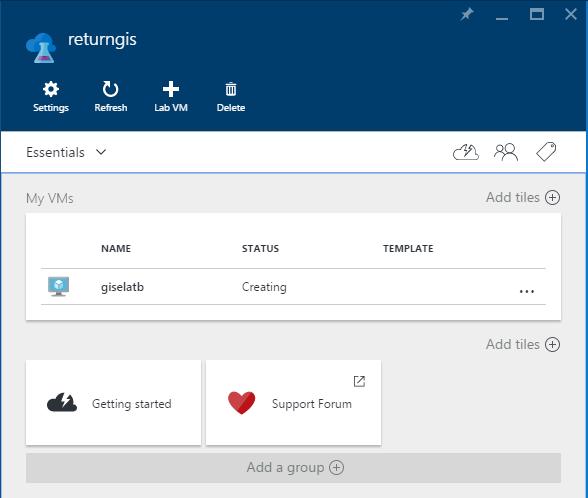 Azure DevTest Labs - returngis - creating VM