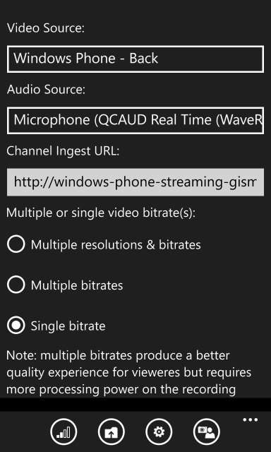 Azure Media Capture Settings